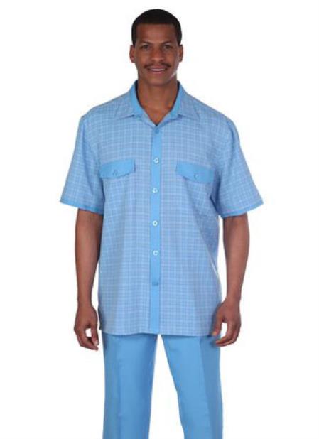 Men's Vintage Style Suits, Classic Suits 2 Piece New Blue Mens Vacation SummerSpring Wear Walking Suit Set $87.00 AT vintagedancer.com