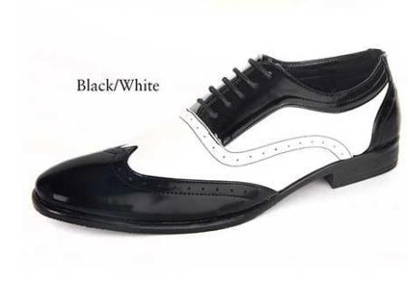 1950s Mens Shoes: Saddle Shoes, Boots, Greaser, Rockabilly  Mens dress shoes Black and white  $101.00 AT vintagedancer.com