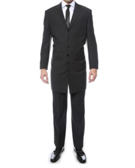 1940s Men's Suit History and Styling Tips  Black and White Bold Chalk 1920s Pinstripe  Stripe Fashion Suit  $141.00 AT vintagedancer.com