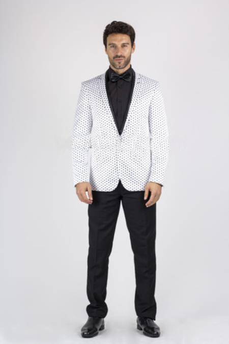 1 Button White Shiny Blazer