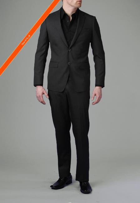 ID#GM5454 2-Button Liquid Dark color Black Wedding / Prom Outfit Modern Slim Cheap Priced Fitted Tapered cut Suit