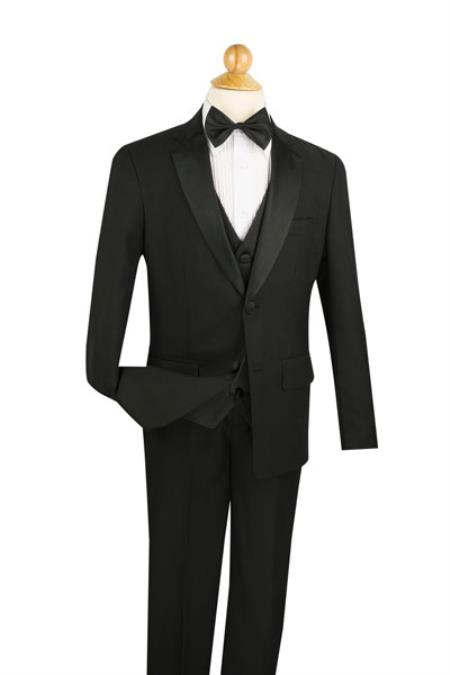 Two Button Boy's 5 Piece Prom ~ Wedding Groomsmen Tuxedo Pleated creased Pant,Shirt And Bow Tie Notch Collared Dark color black Wool fabric Feel Toddler Suits for Weddings
