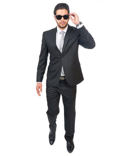 2 Button Shiny Black Suit