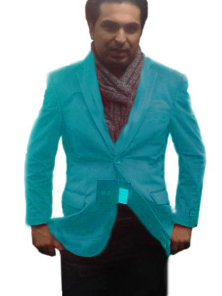 2 Btn Notch Collar Blazer Suit Jacket Fully Lined Velvet ~ Velour turquoise ~ Light Blue Stage Party Best Cheap Blazer For Affordable Cheap Priced Unique Fancy For Men Available Big Sizes on sale Sport Coats Sale
