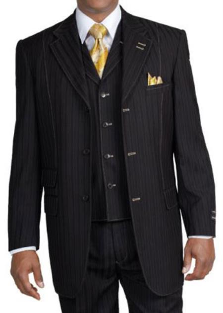 New 3 piece Elegant and Classic Stripe ~ Pinstripe Suit Dark color black