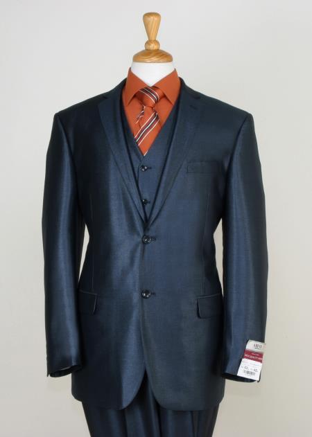3 Piece Blue Shiny Suit