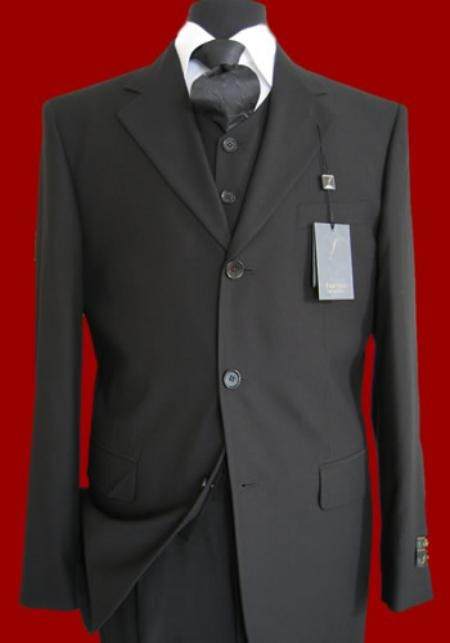 2-Button and 3-Button Three Piece Vested Suit Black Dark Navy Blue Beige Charcoal Grey/Gray Grey/Gray Pinstripe.