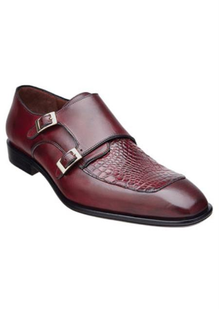 Men's Belvedere Alligator Skin Top 2 Buckle Shoes Burgundy