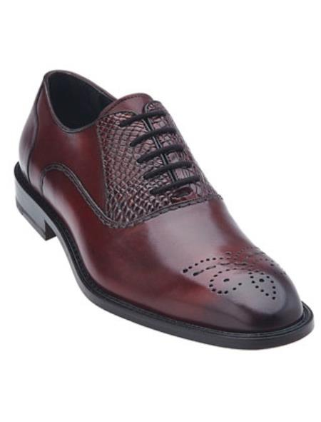 Men's Belvedere Oxford Laceup Wine Alligator Calfskin