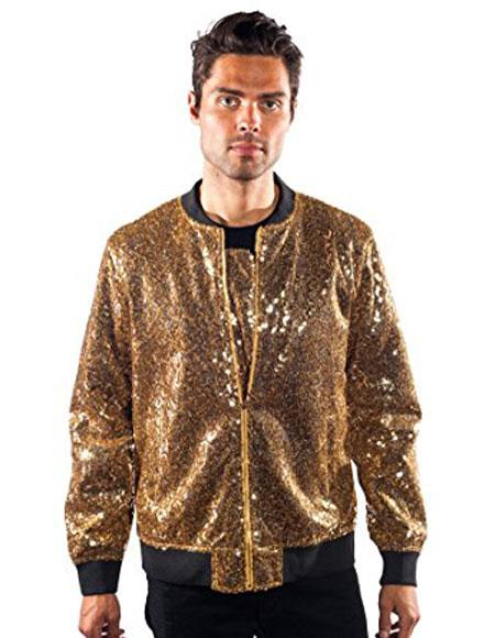 60s 70s Men's Jackets & Sweaters Barabas Galm Gold Shiny Sequin Unique Texture Blazer $128.00 AT vintagedancer.com