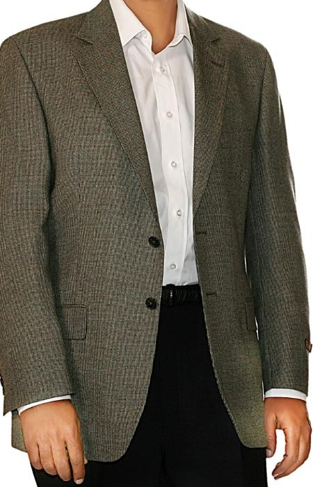 Tan Check Two Button Fall/Winter Sport Coat