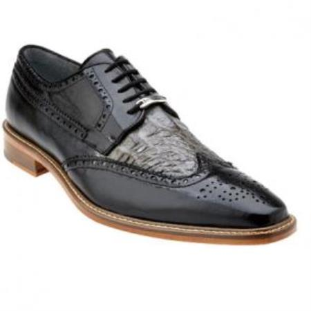 Belvedere Ciro Calfskin & crocodile skin Wingtip Shoes for Men Dark color black / Gray