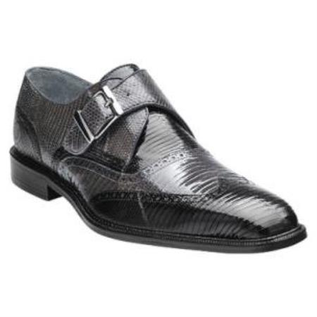 Belvedere Pasta Lizard skin Wingtip Monk Strap Shoes for Men Dark color black / Gray