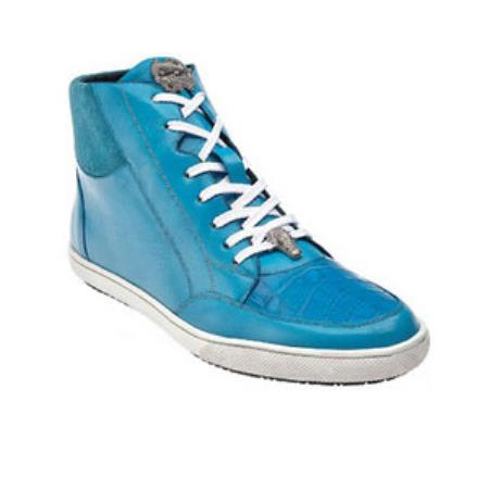 Belvedere Franco crocodile skin & Soft Calfskin High Top Sneakers Baby Blue