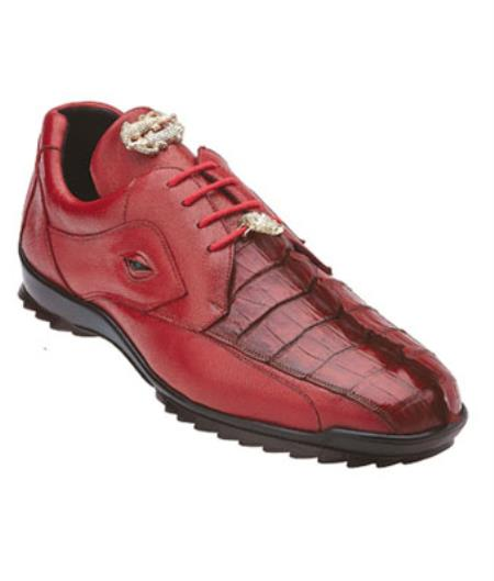 Belvedere Vasco Hornback & Calfskin Sneakers red pastel color