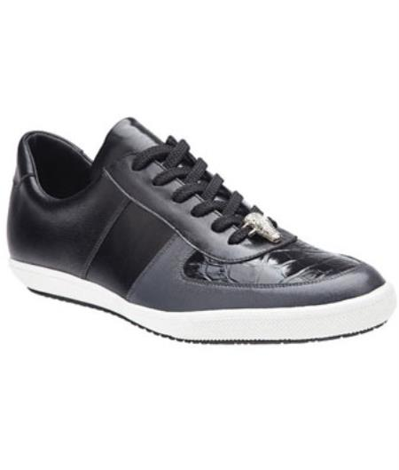 Belvedere Rana crocodile skin & Calfskin Sneakers Dark color black