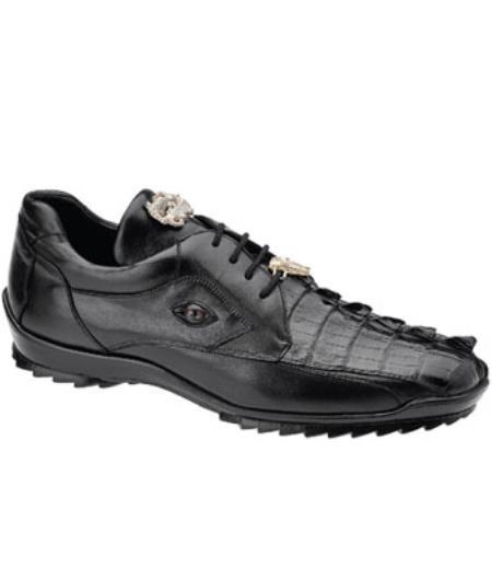 Belvedere Vasco Hornback & Calfskin Sneakers Dark color black