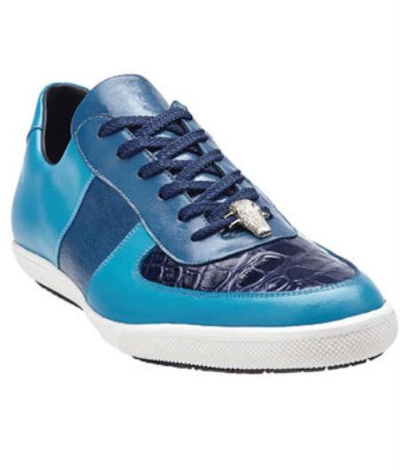 Belvedere Rana crocodile skin & Calfskin Sneakers Baby Blue / Navy