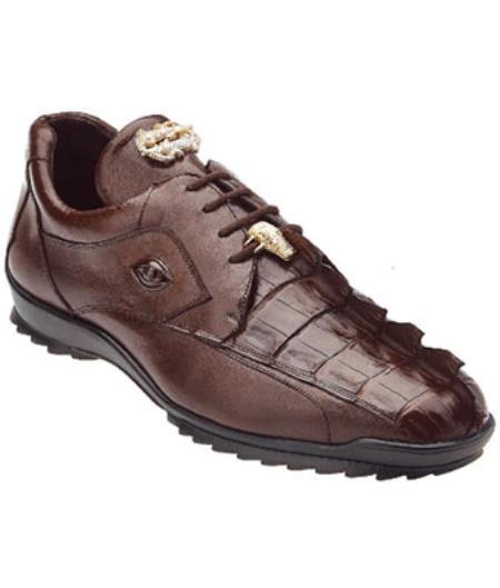 Belvedere Vasco Hornback & Calfskin Sneakers Tabac