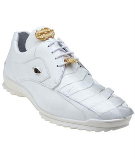 Belvedere Vasco Hornback & Calfskin Sneakers White