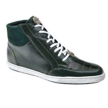 Belvedere Franco crocodile skin & Soft Calfskin High Top Sneakers Grass Green