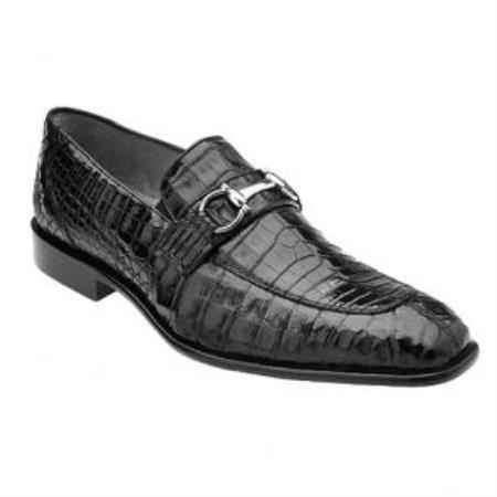 Belvedere Mercuri crocodile skin Bit loafer slip on shoe Dark color black