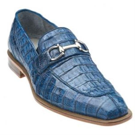Belvedere Mercuri crocodile skin Bit loafer slip on shoe Blue Jean