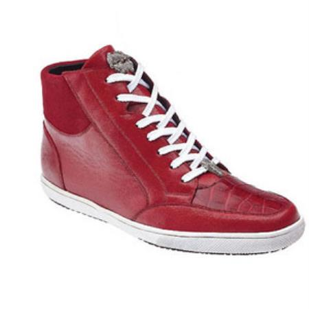 Belvedere Franco crocodile skin & Soft Calfskin High Top Sneakers red pastel color