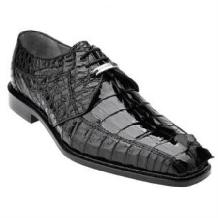 Belvedere Colombo Hornback crocodile skin Shoes for Men Dark color black