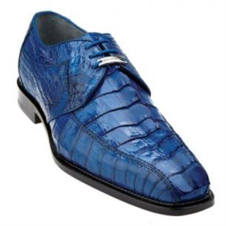 Belvedere Colombo Hornback crocodile skin Shoes for Men Ocean Blue
