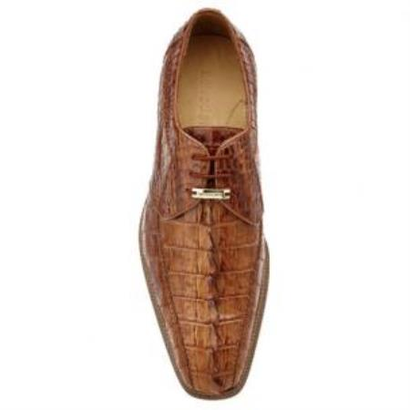 Belvedere Colombo Hornback crocodile skin Shoes for Men Camel