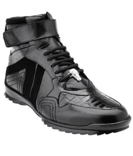 Belvedere Rino crocodile skin Suede & Calfskin High Top Sneakers Dark color black
