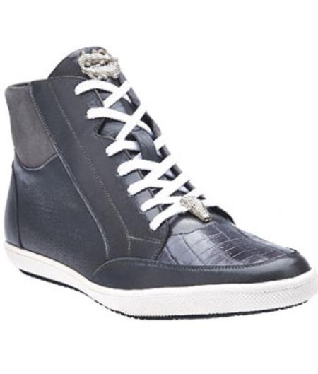 Belvedere Franco crocodile skin & Soft Calfskin High Top Sneakers Spring Gray