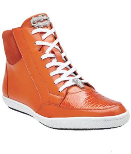 Belvedere Franco crocodile skin & Soft Calfskin High Top Sneakers Orange