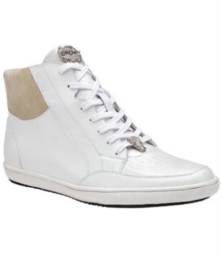 Belvedere Franco crocodile skin & Soft Calfskin High Top Sneakers White