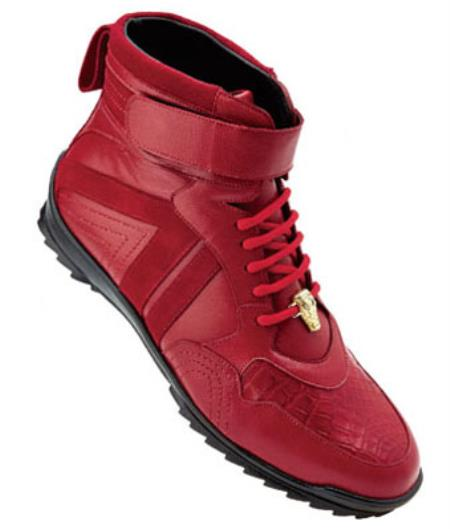 Belvedere Rino crocodile skin Suede & Calfskin High Top Sneakers red pastel color
