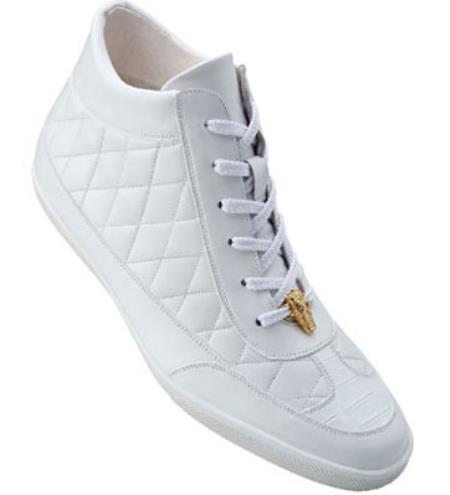 Belvedere Alessio Quilted Calfskin & crocodile skin High Top Sneakers White