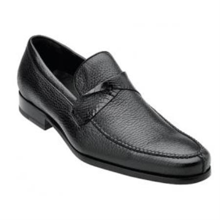 Belvedere Evaldo Deerskin & Gator skin loafer slip on shoe Dark color black