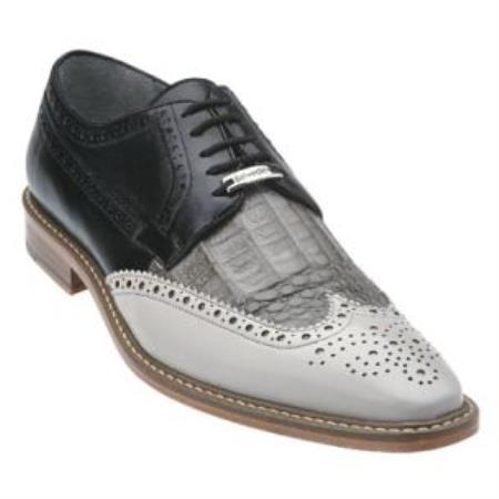 Belvedere Ciro crocodile skin & Calfskin Wingtip Shoes for Men Light Gray / Gray / Dark color black