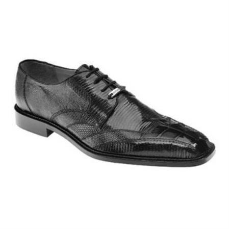 Belvedere Topo Hornback & Lizard skin Shoes for Men Dark color black