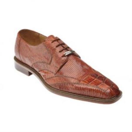 Belvedere Topo Hornback & Lizard skin Shoes for Men Cognac