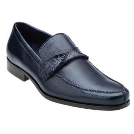 Belvedere Evaldo Deerskin & Gator skin loafer slip on shoe Antique Navy