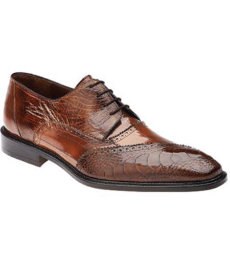 Belvedere Nino Eel & Ostrich Shoes for Men Antique Camel