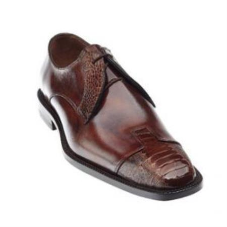 Belvedere Pisa Ostrich & Calfskin Cap Toe Shoes for Men Camel / Almond