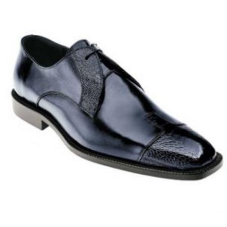 Belvedere Pisa Ostrich & Calfskin Cap Toe Shoes for Men Navy
