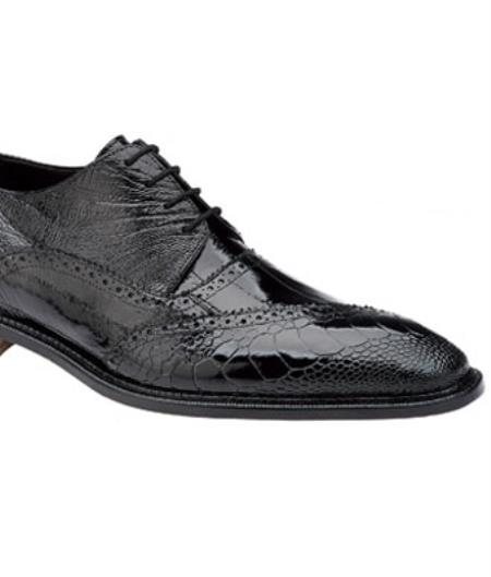 Belvedere Nino Eel & Ostrich Shoes for Men Dark color black