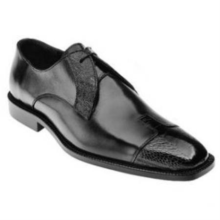 Belvedere Pisa Ostrich & Calfskin Cap Toe Shoes for Men Dark color black