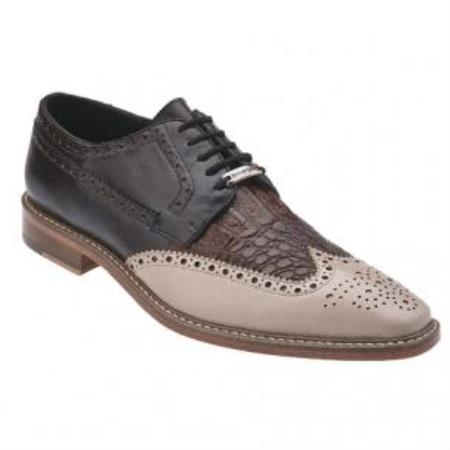 Belvedere Ciro crocodile skin & Calfskin Wingtip Shoes for Men Taupe / Tabac / Dark Coco Chocolate brown