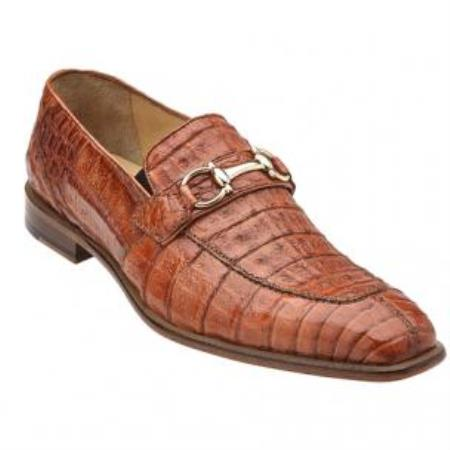 Belvedere Mercuri crocodile skin Bit loafer slip on shoe Brandy