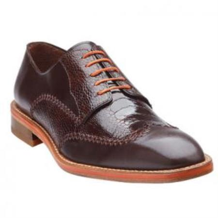 Belvedere Borgo Ostrich & Calfskin Wingtip Shoes for Men Coco Chocolate brown
